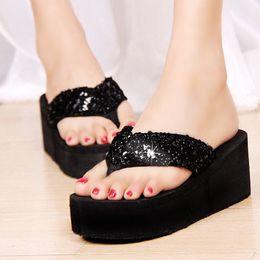 Wholesale Summer Sequins Beach Flip Flops Slippers Female Platform Plywood Sandals Women s Wedges Shoes Women Flip Flops