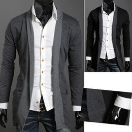 Wholesale-Hot Selling Men's Cardigans Coll Men All-match Casual Slim Male No Button Cardigan Sweater Black,Gray M~XXL