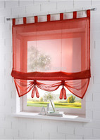 kitchen curtains - Factory Price New Solid Color Tab Top Kitchen Balcony Voile Roman Blinds Liftable Curtain pc