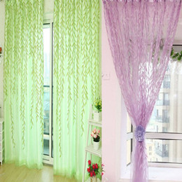Wholesale-Willow Room Pattern Voile Window sheer Curtains Panel Drapes Scarfs Curtain