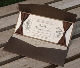 Wholesale wedding cards Wedding invitation NK include RSVP card coffee wedding card with ribbon