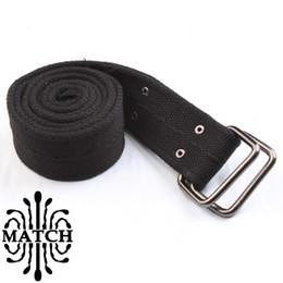Wholesale-Mens Belts Canvas for Cargo pants Wear Square Buckle Color black brown Khaki Brown #YD01