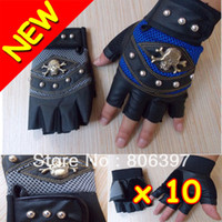 mens sports gloves - New Mens Pu Leather FINGERLESS Pirate DRIVING MOTORCYCLE ATV Cycling Bike Skull Gloves Outdoor Sports
