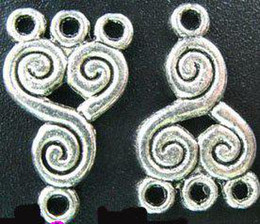 180Pcs Tibetan silver spiral 1-to-3 charms links A112