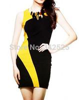 achat en gros de dames jaunes tenues-Black femmes sexy de gros-dame ajouter jaune gaine patchwork radian courte tenue habiller nouvelle # UWD051