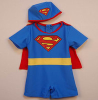 Wholesale Korea Children s Superman style swimsuit Kids Swimwear