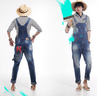 bib jeans - plus size Mens Casual Denim Jumpsuit Mens Skinny Jean Overalls Ripped Vintage Bib Pants Male suspenders jeans