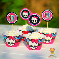 baby shower cake topper - sets Monster High cupcake wrappers decoration birthday party favors festa cake toppers picks kids party supplies baby shower
