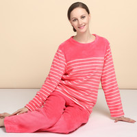 Cheap Wholesale-In the new winter robe lovers coral fleece long sleeved pants thickened pajamas women Home Furnishing underwear flannel
