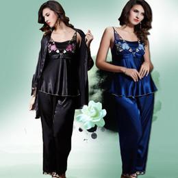 Wholesale- Women Three-piece pajama sets Womens Satin Sleep Harness Pajamas Imitated Silk Fabric Woman Nightgowns