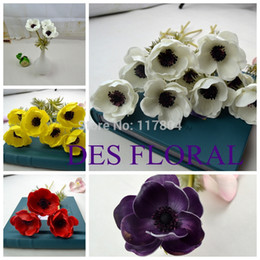 Wholesale-2015 Hot Sale Fake Flowers PU Anemone White Purple Red Yellow 4 Options for Bridal Bouquet and Banquet Decoration