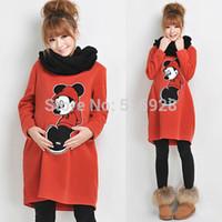 Cheap Wholesale-Autumn Winter Warm Cute Maternity Hoodies Sweatshirt