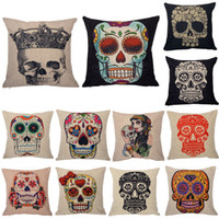 Cheap Wholesale-Home Decorative Cotton Linen Skull Pillow Case Cushion Cover Waist Hold Cushion Cover Pillowcase Pillow Case For Sofa Bed Cars