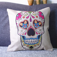Cheap Wholesale- Personalized retro skull linen cotton pillowcase 42 cm * 42 cm lid style combination sofa cushion pillow bed car decoration