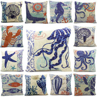Wholesale Types Blue Ocean Cotton Throw Pillow Case Home Decorative Sofa Cushion Cover Pillowcase Freeshipping