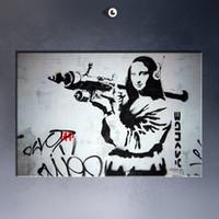 Wholesale Free shipment Banksy Mona Lisa Bazooka Art Picture Paint on Canvas Prints