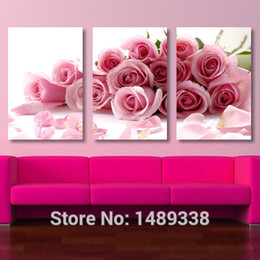 Wholesale-3 Piece Pink Rose Home Decorative Canvas Painting Living Room Paint Wall Hanging Art Picture Paint On Canvas Prints T 203