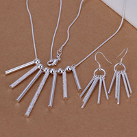 Wholesale silver jewelry set fashion jewelry set Five Rods Pillars Earrings Necklace Jewelry Set S159