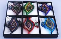 Wholesale Sets Eye Style Murano Glass Necklace Earrings Jewelry Set