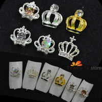 Wholesale Mix Crystal Glitter Rhinestones Strass Crown Shape New D Metal Alloy Nail Art Charm Decorations Nail Tools