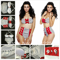 amazing swimsuit - New Sexy Amazing Women s BOWS Rockabilly Push Up High Waist Vintage Pin Up Retro Pushup Bikini Swimsuit Beachwear