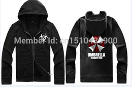 Wholesale- fashion Resident Evil umbrella Autumn couple fleece zip sweater coat male and female lovers theme clothes hooded sweater