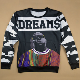 Wholesale- autumn new men women's fashion sweatshirt 3D print character Biggie Smalls Dreams pullover hoodies Hip hop streetwear