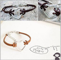 Wholesale New Fashion Charm Leather Bracelets Women s Handmade Heart Shape Pendants Bracelet