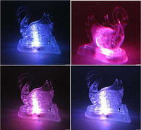 Wholesale D Crystal Puzzle Toys Flash Music Transparent Swan Christmas Gift