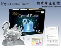 Wholesale D Crystal Puzzle Toys Flash Music Swan Christmas Gift
