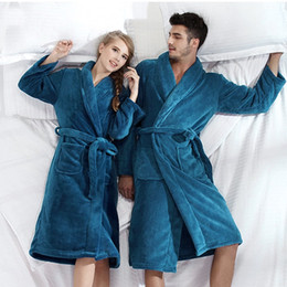 Wholesale-Bath Robe Women Nightgown Bathrobe Men Pajama roupao camisolas de dormir Thick Long Night-Gown Shower Unisex Sleepwear 1pcs lot