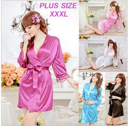 Wholesale-Womens Silk Satin Robes Lace Bathrobe Short Sexy Kimono Three Quarter Dressing Gowns For Women