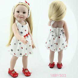 Les brunes en Ligne-Gros-18 '' souriants fille poupée jouets pour les enfants américains yeux bruns réalistes des jouets des enfants américains de cadeau de fille