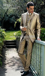 New Style Three Buttons Men Wedding Prom Clothing Groom Tuxedos Satin Fabric Wear Bridegroom Suit (Clothes+Pants+Tie+Vest) A356