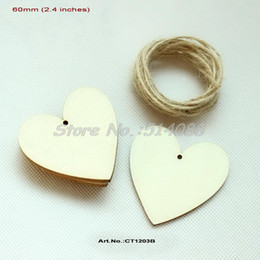 Wholesale-(60pcs lot) Blank Unfinished Wood Heart Tags Favor Hand Stamped Rustic Wedding Wishing Tags With String Hanging 60mm-CT1203B