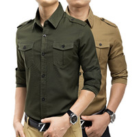 Wholesale Autumn Men s High Quality Long Sleeve Cotton Military Shirts Slim All match Casual Shirts