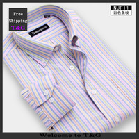 oxford shirts - New Arrival Mens Fashion Long Sleeve Striped Dress Shirt Men Oxford Non iron Formal Business Shirts Drop Shipping