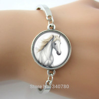 arts bangle - Art pendant charm bracelets Glass cabochon dome picture white horse bangle antique silver Rhodium Gold Bronze plated bangles