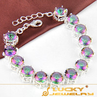 Wholesale New Arrival Luxury Style Romantic Blue Fire Mystic Topaz Silver Bracelet For Women Fashion Party Jewelry