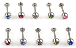 Wholesale-Wholesale 10Pcs lot Crystal Stainless Steel Lip Piercing Labret Rings I Shape Ear Stud Piercing Tragus Body Jewelry Unisex