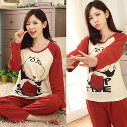 Wholesale- Latest Autumn And Winter Cotton Couple Pajamas Long Sleeve Round Neck Lovers Couple Pajamas Sets 22