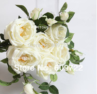 artificial flower uk - Birthday Uk Real Touch PU CM Wedding Home Decor Event Party Marriage Supplier Artificial Rose Bouquet Flower White FL1151