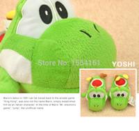 Wholesale Cute Anime Super Mario Green Yoshi run dragon plush slippers warm winter shoes PW