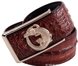 Wholesale-Belts for men mens belt Genuine Leather crocodile Smooth buckle free strap all-matched jeans 2015 brand new gold men's of