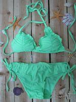 Cheap Wholesale-Candy-colored bandage sexy bikini flounced swimwear Nylon fabric M L XL four colors