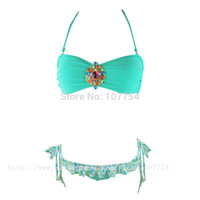Wholesale Crystal Padded Bikinis - Wholesale-2015 New Green Crystal Bikini Set Halter Bandeau Swimsuits Women Rhinestone Swimwear Padded Biquini 1286