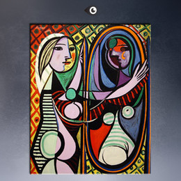 Wholesale free shipment Pablo Picasso GIRL BEFORE A MIRROR Estate Signed amp Numbered Abstract Canvas Prints