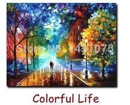 Оптово-Сельский пейзаж Картина номер набора различных стилей DIY масляной краской на холсте 40x50cm