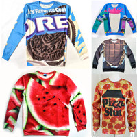 army food - Eastdragon funny D food sweatshirt Pizza slut watermelon oreo cookie chocolate bar Strawberry printed novelty women men hoodie