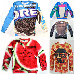 Wholesale-Eastdragon funny 3D  sweatshirt Pizza slut watermelon oreo cookie chocolate bar Strawberry printed novelty women men hoodie
